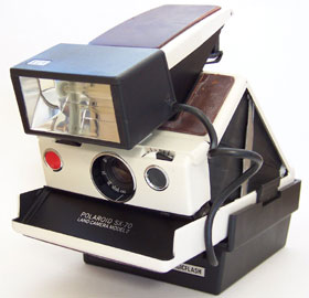 [Polaroid SX-70 Camera with Attached ITT Electronic Flash]